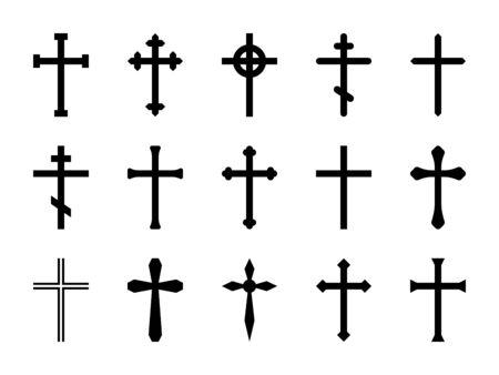 Krzyże chrześcijańskie. Krzyż katolicki, prawosławny i celtycki. Wiara i modlitwa religijna, chrystusowy kościół znak wektor na białym tle ozdobny zestaw ikon zmartwychwstania przekreślony kontur