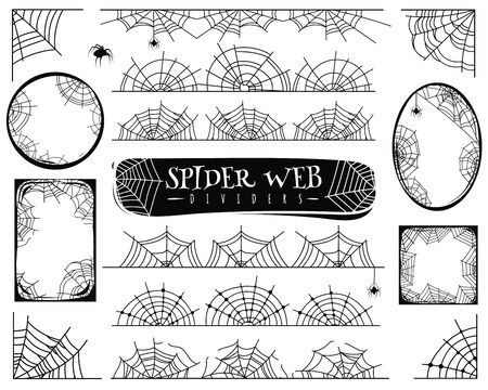 Spider web dividers. Halloween spiderwebs with spiders, cobweb frame and corners. Gossamer borders for banner vector horror spooky abstract illustration set