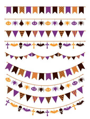 Halloween garland. Festive buntings with pumpkins, spiders and skull for greeting cards invitations, colorful flags flat vector decoration rope sign scary isolated set Illustration