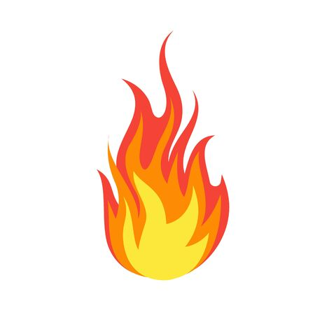 Fire emoji. Simple light creative dangerous energy flame burns fired symbol isolated vector burning dangers blazing sticker illustration