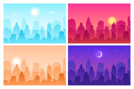 Daytime cityscape. Panoramic urban landscape in different time. Skyscrapers, building silhouettes in day, morning and night vector view scape modern skyline set