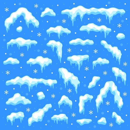 Snow caps. Snowballs and snowdrifts, snowfall and snowflakes, snowcap. Winter decoration christmas elements cartoon vector snowy frozen white pile set