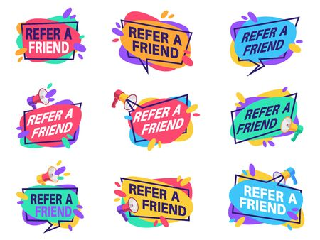 Refer friend labels. Referral program marketing badges with loudspeaker. Friendly recommendation vector suggestion tags referred graphic banner with megaphone