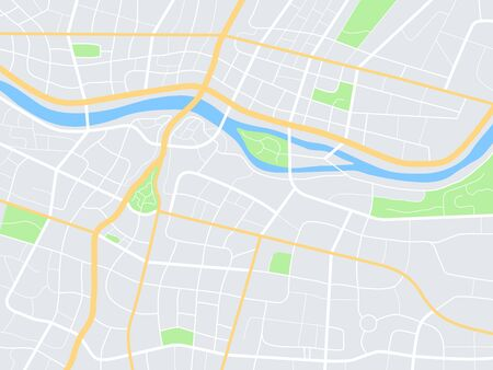 City map. Town streets with park and river. Downtown gps navigation plan, abstract transportation urban vector drawing maptown small road pattern texture Ilustração