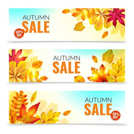 Banners with fall leaves. Autumn season discount offers with red and orange realistic foliage. Colorful leaf design vector seasonal autumnal sale abstract tag templates