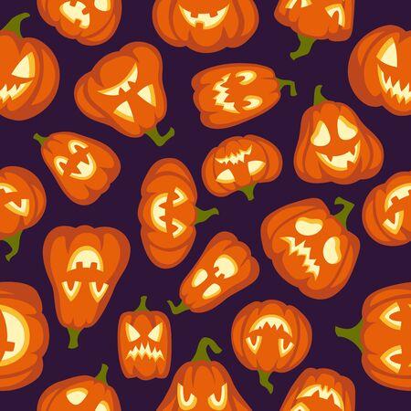 Pumpkin pattern. Seamless halloween background. Pumpkins characters with different faces wallpaper design, cartoon vector creepy smiling october artworks texture