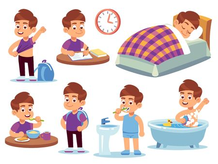 Boy daily activities. Little kid sleeps bed, wake up and takes bath, does homework and eats in school. Routine active vector eating sitting happy tidying isolated cartoon set