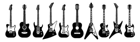 Black and white guitars. Acoustic and electric guitar outline musical instruments Vector isolated silhouette guitare doodle set