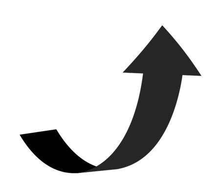 Curve arrow pointer up. Black flat curved line sign of grow direction way vector icon for business pointing click upwards interface
