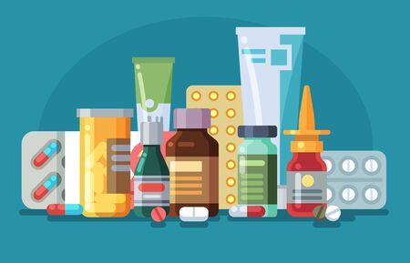Medicine. Pills, capsules and glass meds bottles with medicine, tubes with ointment, medication spray. Pharmacological vector healthcare concept