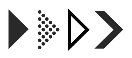Flat arrows for interface. Right black arrows for navigation and download sign, vector digital symbol from to or next direction set