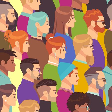 Crowd seamless pattern. Different people group, young men and women. Human heads in profile, population wallpaper vector various smiling person texture