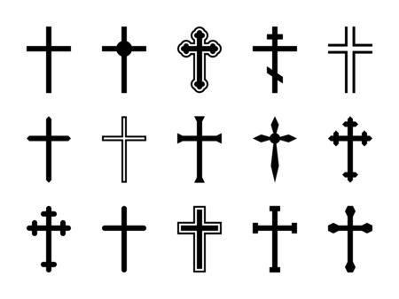 Christian cross. Jesus Christ crucifix, different shapes of orthodox and catalytic crosses religious silhouette signs vector decorative art god design isolated set Archivio Fotografico - 131295948
