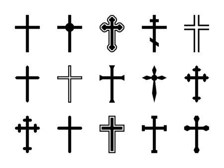 Cruz cristiana. Jesucristo crucifijo, diferentes formas de cruces ortodoxas y catalíticas silueta religiosa signos vector arte decorativo dios diseño conjunto aislado Ilustración de vector