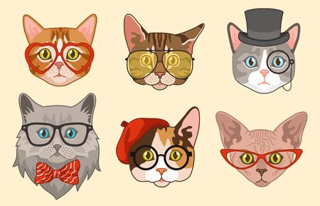 Cat heads. Cute funny cats avatar muzzles with accessories, glasses and hats, bow tie. Happy hipster pets vector drawing modern animal isolated characters 向量圖像