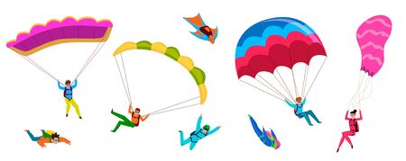 Skydivers. Professional skydiving, people jump with parachute, fly with paraglider. Active lifestyle hobby cartoon vector parachuting wings adventure flying characters