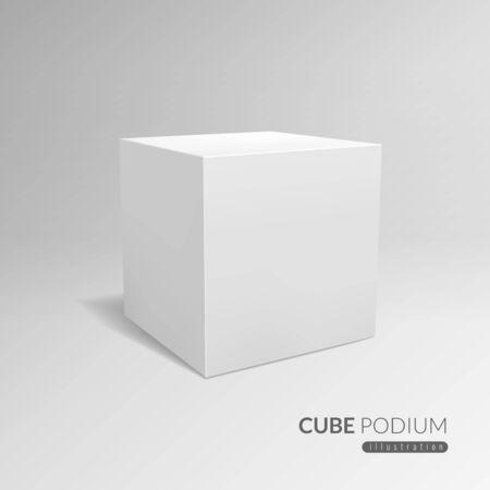 Cube-Podest. 3D-Würfelsockel, weißer leerer Block für Produktwerbung. 3d in der Perspektive mit Schattenvektorwerbung, die kubische Ausstellungsschablone steht Vektorgrafik