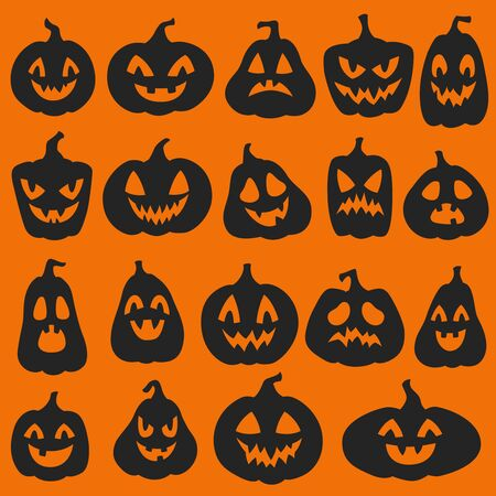 Pumpkin silhouettes. Halloween pumpkins emoticon characters. Happy, sad and angry funny sinister spooky faces vector holiday carved lantern stickers