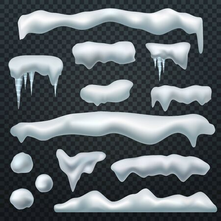 Snow caps. Ice cap with shadow, snowdrifts and icicles. Winter season christmas and new year realistic 3d isolated vector constructor shape pile snowdrift elements Çizim