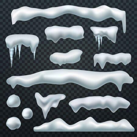 Tappi di neve. Calotta di ghiaccio con ombra, cumuli di neve e ghiaccioli. La stagione invernale natale e capodanno 3d realistico isolato vettore forma mucchio cumulo elementi di cumulo di neve Vettoriali