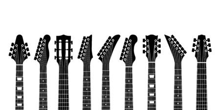 Guitar headstocks. Acoustic and rock electric guitars heads. Outline musical instrument, minimal abstract music symbols vector black silhouette of modern guitare concept