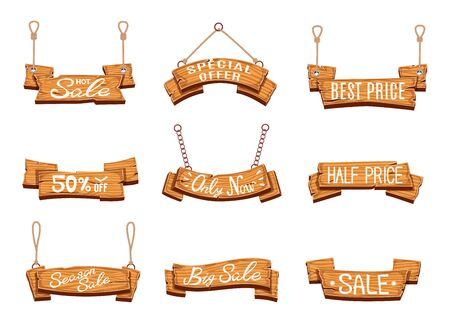 Wooden sale banners. Season sales, vintage wood sign boards. Discount price labels with shopping special offer cartoon vector rustic empty pricing tag set