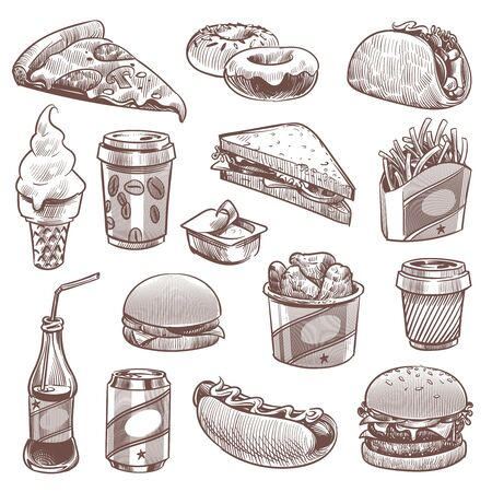 Fast food sketch. Pizza, donuts and ice cream, french fries and hamburger, cola and hot dog, coffee and cheeseburger vector doodle snack unhealthy fasting products set