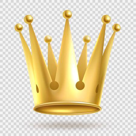 Corona d'oro. Elegante corona reale in metallo dorato su sfondo trasparente, gioielli imperiali di ricchezza realistica, royalty illustrazione gratis Vettoriali