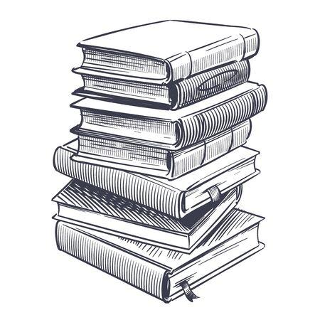 Pila de dibujo de libros. Dibujos graban pila de diccionario vintage antiguo y libro de investigación de estudio vector doodle educación biblioteca apilada literatura ilustración