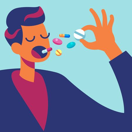 Pills in mouth. Man eating many drugs. Hand with overdose of medicine. Drug addiction treatment and pharmacology vector taking tablet prescription health concept