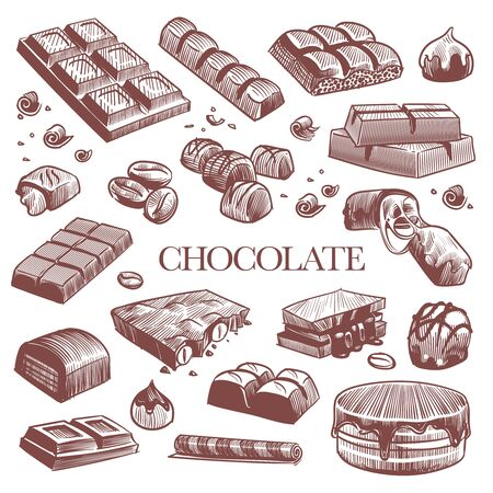 Sketch chocolate. Engraving black chocolate bars, truffle sweets and coffee beans. Vintage hand drawn isolated engraved dessert vector set Banque d'images - 131296034