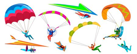 Skydivers. Skydiving adventure, people jump with parachute in sky, fly with paraglider and free flight. Cartoon vector extremely dangerous falling skydive characters Ilustração