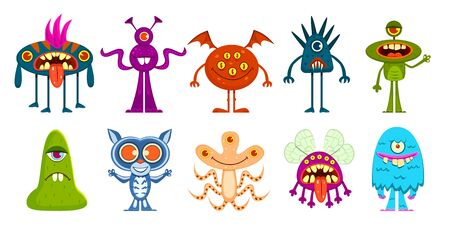 Cartoon monsters. Cute little goblins and gremlins, scary alien kids. Halloween cool monster characters, comic vector isolated funny emoticon creature and mascots