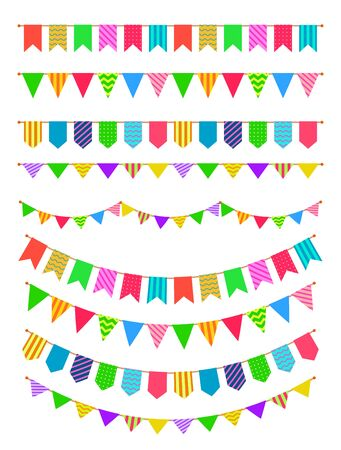 Garland with flags. Rainbow garlands, hanging colored pennants. Birthday party decoration for fest invitation poster vector string vintage bunting colorful festive set Illustration