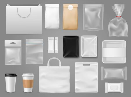 Mock up for take away. Packaging food containertea and paper bag, disposable cup for branding coffee shop or cafe vector corporate design set template