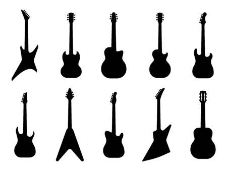Gitaar silhouetten. Akoestische en heavy rock elektrische gitaren schetsen muziekinstrumenten, muziek symbolen Vector jazz metal klassieke beugel geïsoleerde set Vector Illustratie