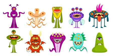 Monsters. Cute goblins and gremlins, scary aliens. Halloween funny trolls cartoon characters vector creature party face kids animal set Illustration