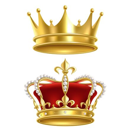 Real royal crown. Imperial gold luxury monarchy medieval crowns for heraldic sign isolated realistic vector golden elegant crowning king vintage set on white background Illusztráció