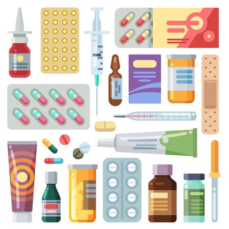 Flat pills. Medicine cartoon drugs, tablets and antibiotics. Medication dose, vitamin capsules icons vector isolated pils blister packs set