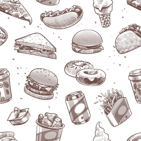 Fast food seamless pattern. Hot dog, hamburger and cola, coffee and ice cream, cheeseburger fast food restaurants vector burger junk american potato sandwich texture