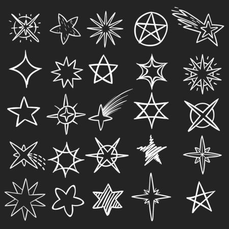 Hand drawn stars. Pen sketch star collection, grunge shine black symbols. Vintage handmade doodle vector decor isolated elements fireworks set