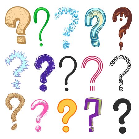 Question marks. Hand drawn color interrogation icons, sketch ask question symbols. Doodle vector isolated drawing group line questionnaire set Stock Illustratie
