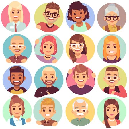 People in holes. Face in circular windows, emotional people greeting, smiling communicating characters. Avatars vector neighbor designs expressive laugh emotions set