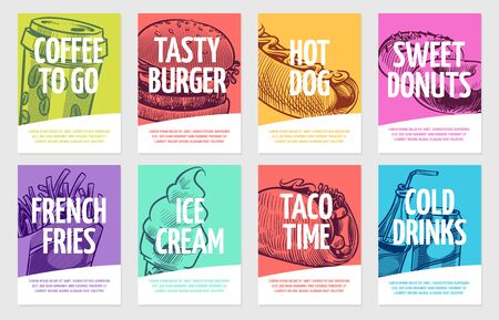 Fast food flyers. Coffee, burger and hotdog, pies and fries, ice cream and cola, sandwich. Restaurant posters vector template card and lunch banner hand draw set