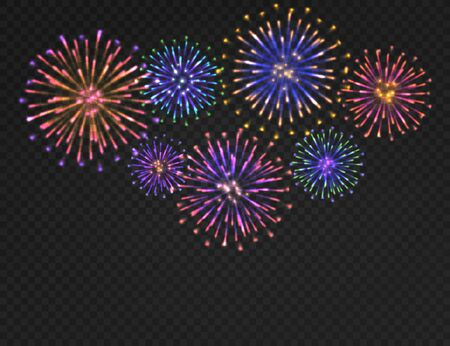 Firework background. Isolated carnival salute on transparent backdrop. Festive xmas, new year and 4th july fireworks vector colorful bright night concept
