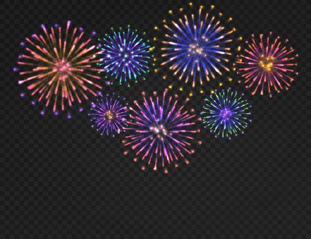 Sfondo di fuochi d'artificio. Saluto di carnevale isolato su sfondo trasparente. Il Natale festivo, il nuovo anno e il 4 luglio i fuochi d'artificio vector il concetto variopinto di notte luminosa