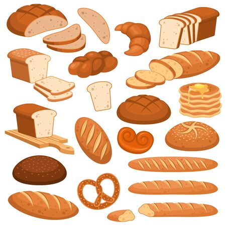 Cartoon bread. Bakery rye products, wheat and whole grain sliced bread. French baguette, croissant and bagel, toast vector menu loaf cereals variety buns pastry design Banque d'images - 131296207