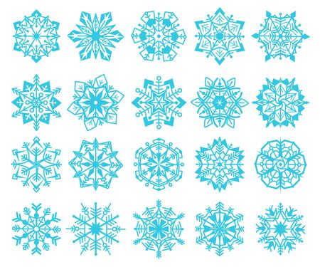 Snowflakes. Winter christmas flake snowflake design set, frozen ornament of snowfall, holiday crystal star, new year vector abstract iced graphics xmas line collection