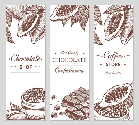 Cocoa and chocolate banners. Sketch cacao and coffee seeds, chocolate bars and candies. Hand drawn sweets, coffee shop vector beauty labels for branding choco natural flyers