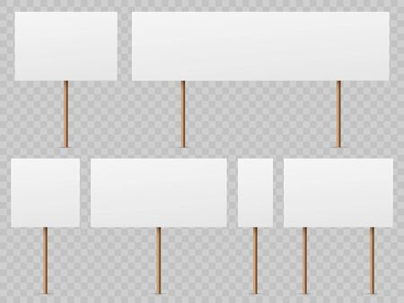 Protest banners. Blank white placard with wooden stick. Politic strike boards realistic vector holding public broadsheet template Фото со стока - 133739196